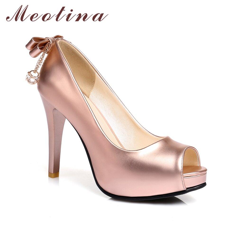 Glissent Toe Sur Les Argent Mariage Plate Arc Chaussures Talons Hauts Stiletto Pompes Picture Femmes forme as Meotina Femme De Peep Or argent xOPq7ww