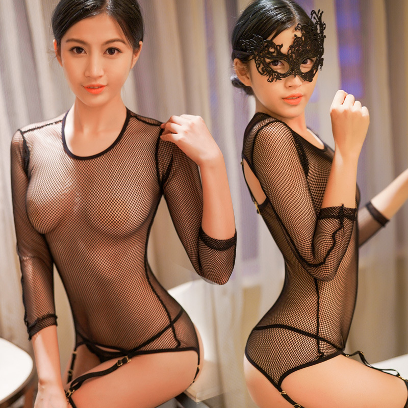Sexy Lingerie Set for Women <font><b>Black</b></font> <font><b>Small</b></font> Hole Mesh <font><b>Babydoll</b></font> with Socks See Through Erotic Fishnet Hollow Out 5 Pcs Set