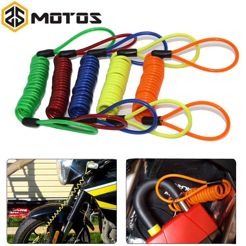 ZS MOTOS Motorcycle Scooter Alarm Disc Lock Security Anti Thief Reminder Cable Bike Motorbike Anti Thief Safety Tools 5 Color