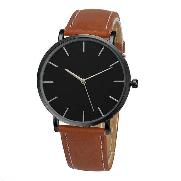 Fashion Quartz Watch Black Dial with Brown Leather Band