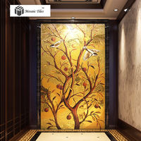 Ручной работы золотой паркет мозаика панно на плитке повезло птицы фруктовых деревьев коридор стены