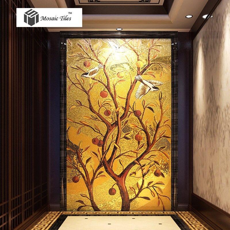 Handmade golden parquet mosaic murals tile lucky birds fruit tree corridor walls