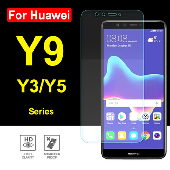 Protective Glass For Huawei Y9 2018 Screen Protector Y5 Y3 2017 Tempered Glas Huavei Y 3 5 9 3y 5y 9y Y92018 Tremp Film 9H image