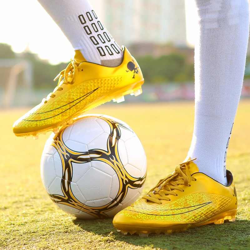 Men Football Shoes kids long spikes Male Football Boots PU Lace Up Football Soccer Shoes Outdoor AG Professional Teenager Cleat