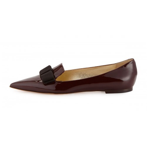 ef7d5f37259 Burgundy Patent Leather Pointed Toe Women Flats Black Bowknot Slip-on Shoes  Women Dress Shoes Brand Designer Women Flats Shoes