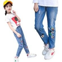 Nueva llegada 2019 niñas Jeans para la primavera y el otoño de los niños ropa de los niños de dibujos animados Mickey bordado Jeans chica adolescente Vaqueros