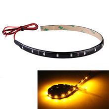 30 Cm 15 Neon Fleksibel Tahan Air Jeruk Strip LED Bar Lampu Mobil Motor Truk(China)