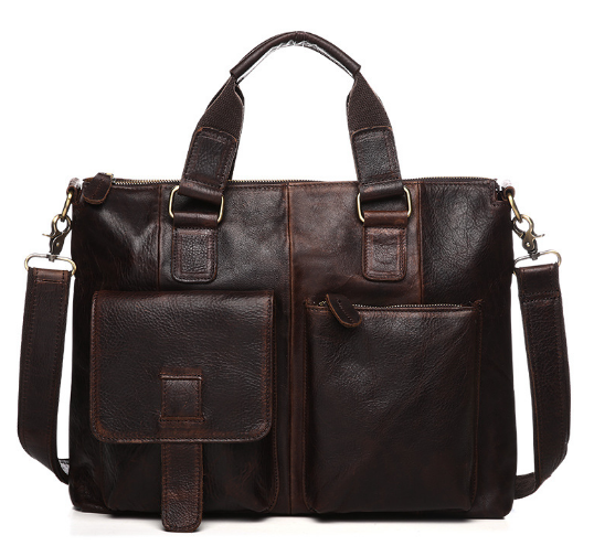 New Genuine Leather Crazy Horse Business Briefcase Bag Zipper Vintage Men Crossbody Shoulder Bag Retro Large Capacity HandbagL61 new retro briefcase men bag crazy horse genuine leather men handbag men shoulder large capacity bussiness bag zipper laptop bag