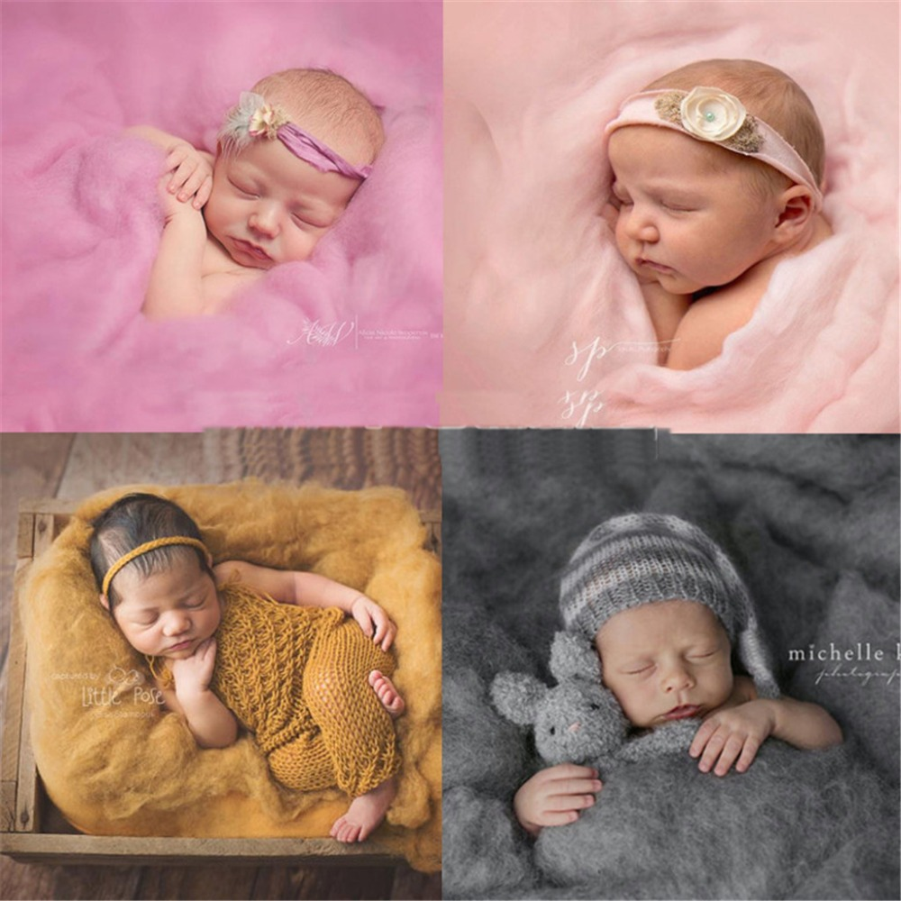 6090cm merino wool felted wrap wool layer roving fluff baby newborn photo prop basket