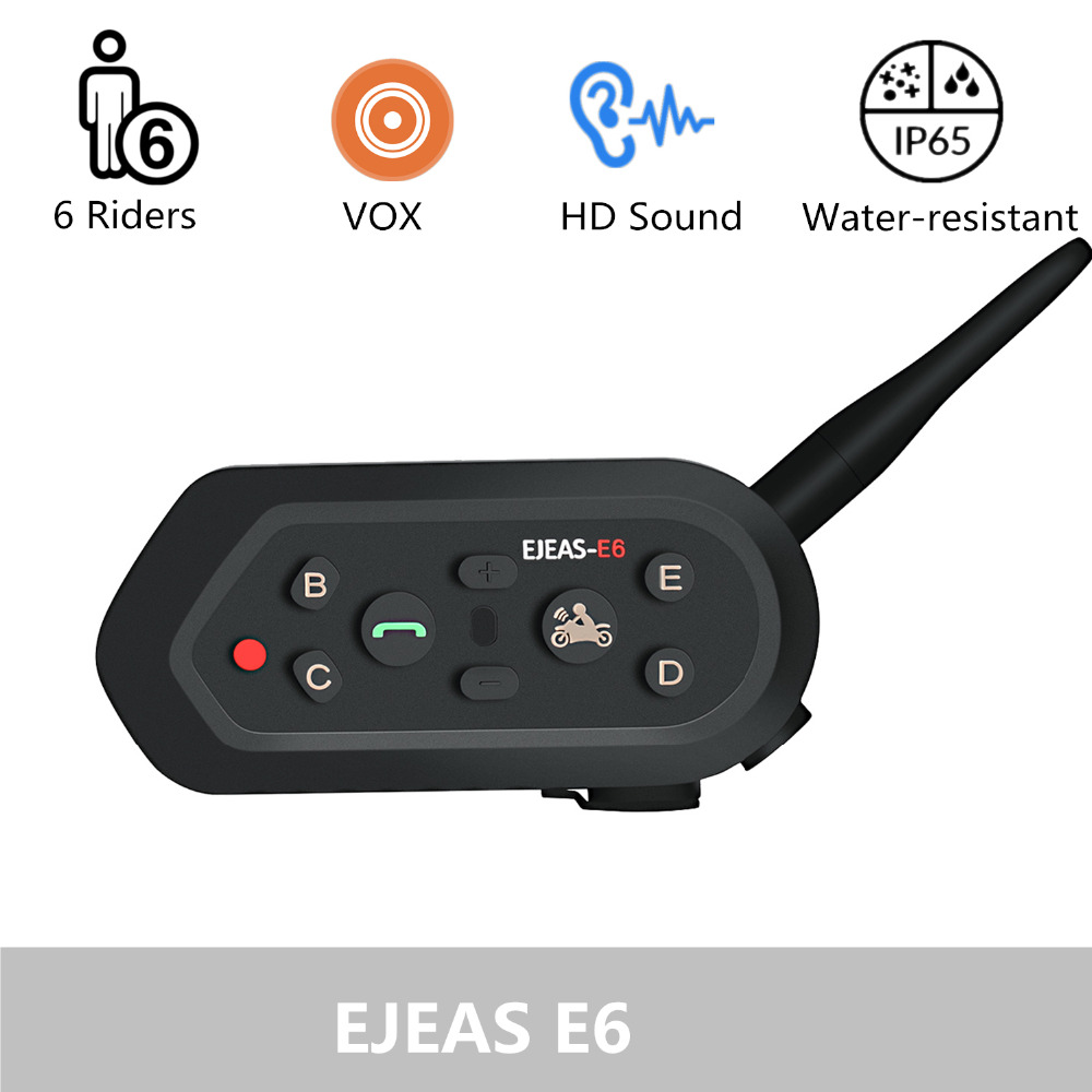 EJEAS E6 Bluetooth Motorcycle Intercom Helmet Headset VOX AUX Music GPS Communication For 6 People