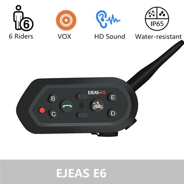 EJEAS E6 Cascos Inalambrico Bluetooth Motorcycle Intercom Helmet VOX AUX Música GPS Handsfree Communication
