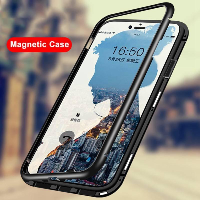 Caixa De Metal magnético Para Xiao mi mi Vermelho Nota 5 Pro 6A 6 Vidro Transparente Case Capa Para Xiao mi 8 SE mi mi 8 Lite 6X A2 Pocophone F1 Coque
