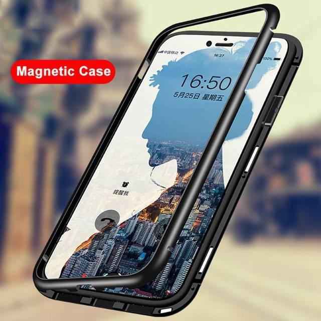 new style 579ef 89152 Magnetic Metal Case For Xiaomi Redmi Note 5 Pro 6A 6 Clear Glass Cover Case  For Xiaomi Mi 8 SE Mi8 Lite 6X A2 Pocophone F1 Coque