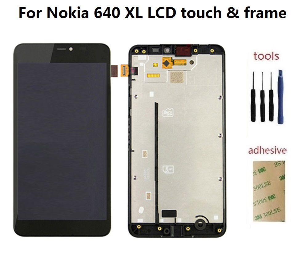 ФОТО For Nokia Lumia 640XL 640 XL LCD Display Screen + Front Touch Glass Digitizer Sensor + Frame Assembly + Adhesive + Kits