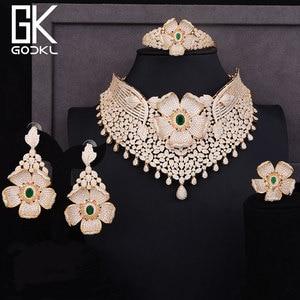 Image 2 - GODKI Luxus Cubic Zirkon Nigerian Schmuck sets Für Frauen hochzeit Indische Halskette Ohrringe sets Armreif Ring parure bijoux femme