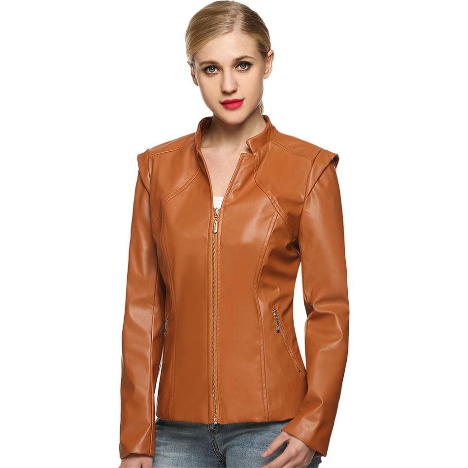 Leather jacket karachi - 3 Colors Synthetic Leather Jacket Women Casual Long Sleeve Slim Jacket Faux Pu Autumn Coat Plus