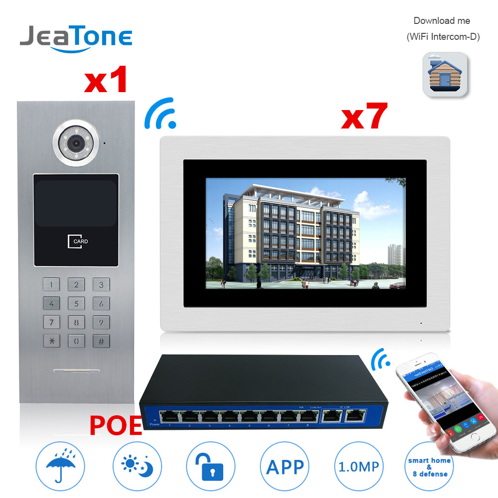7'' Touch Screen WIFI IP Video Door Phone Intercom +POE Switch 7 Floors Building Access Control System Support Password/IC Card 7 inch password id card video door phone home access control system wired video intercome door bell