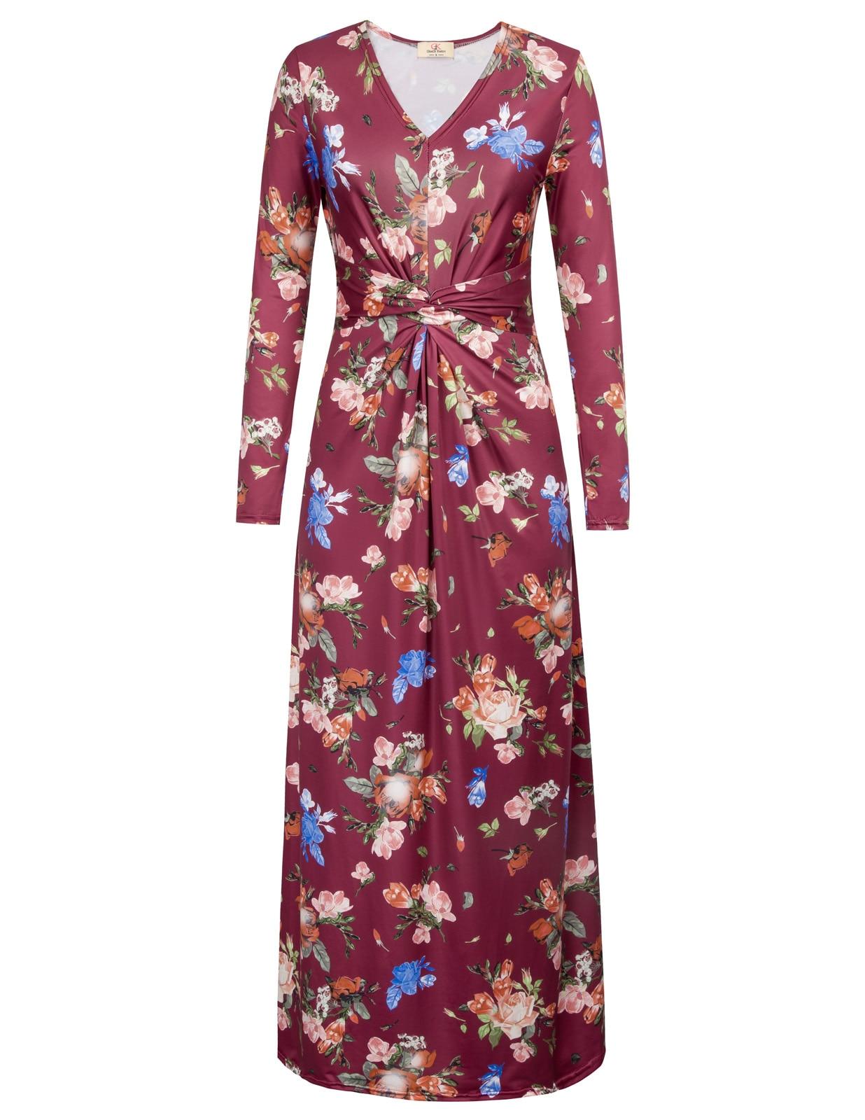 2018 vintage Women dress Floral Pattern Long Sleeve V-Neck Twist & Twirl Maxi A-Line Dress vestidos largos de verano casual