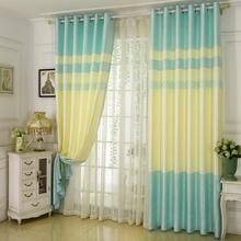 European style curtain Hotel living room stitching fabric Shading cloth customizable smooth polyester window