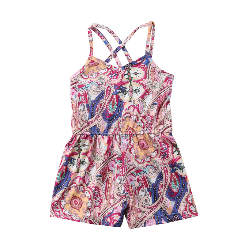 New Kids Girls Floral Printed   Romper   Baby Sleeveless Suspenders Jumpsuit Outfits Clothes 1-6 Year's Children Ethnic Style   Romper