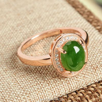 925 Silver Natural Green HeTian Jade Gem Inlay Lucky Ring Certificate Rose Gold Rings Adjustable Fashion
