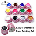 Saviland 1pcs Color Painting Gel Polish Long-lasting 12 Colorful UV Nail Art Paint Draw Paint Gel Nails Glue