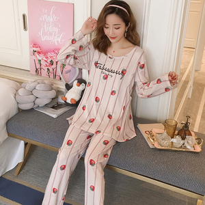 Image 4 - Spring Long Sleeve nursing clothes for Pregnant women Knitted cotton Pajamas Postpartum Maternal Lactation set maternity clothes