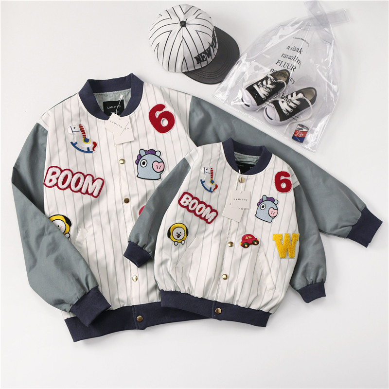 autumn winter coats and jackets kids boys outerwear family matching clothes Patchwork embroidery cartoon baseball uniform топ baon baon ba007ewaylo1