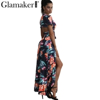 Glamaker Floral Summer Dress Women Sexy High Slit Long Dress Printed Maxi Beach Dress Female Vestidos