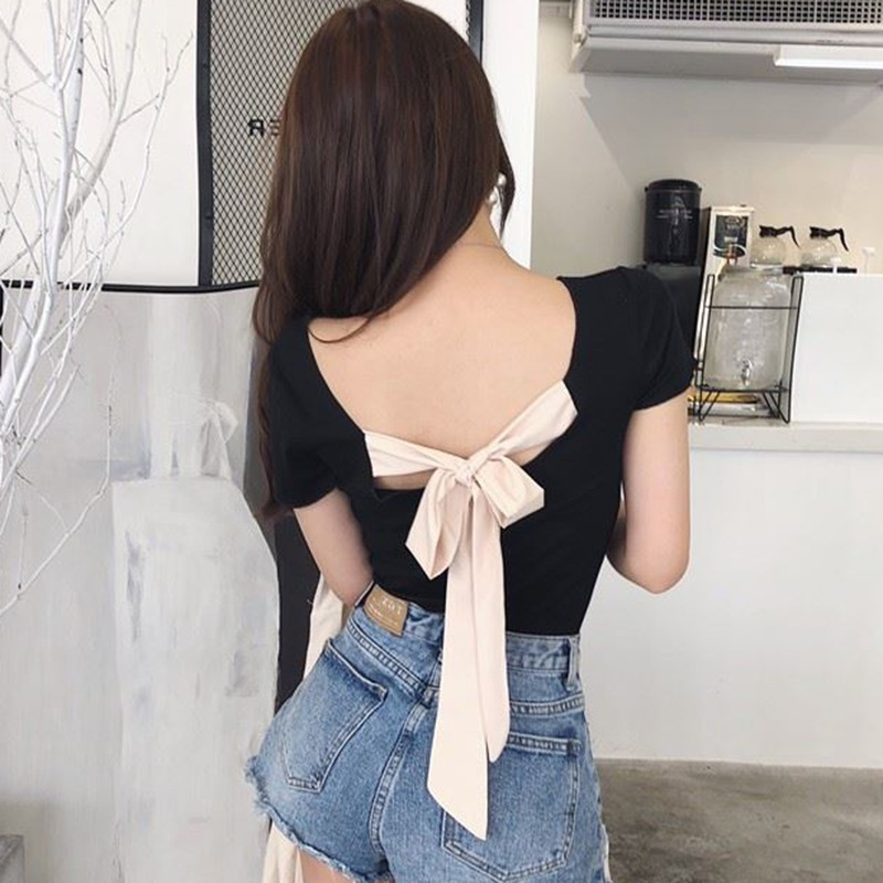 Women Sexy Back Lace Up <font><b>Bow</b></font> <font><b>T</b></font> <font><b>Shirt</b></font> Ladies Slash Neck Short Sleeve Tops Fashion Female Slim Solid Color Backless Tees image