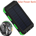 2016 New Waterproof 10000mah Solar Power Bank Dual USB External Battery Solar Charger Powerbank for Smart Phone with LED Light