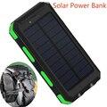 2016 Nueva Prueba de Agua 10000 mah Solar Banco de la Energía Dual USB Cargador Solar de Batería Externa Powerbank para el Teléfono Inteligente con LED luz