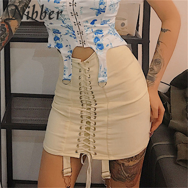Nibber spring new office lady Elegant mini skirts womens2019summer club party night evening pleated ladies Street casual skirt 45