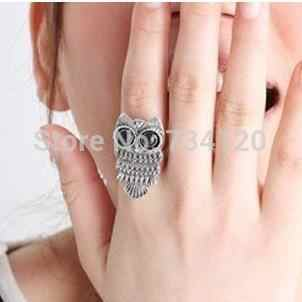 vintage Style (Bronze\ silver plated ) Owl Ring jewelry wholesale finger rings for women,