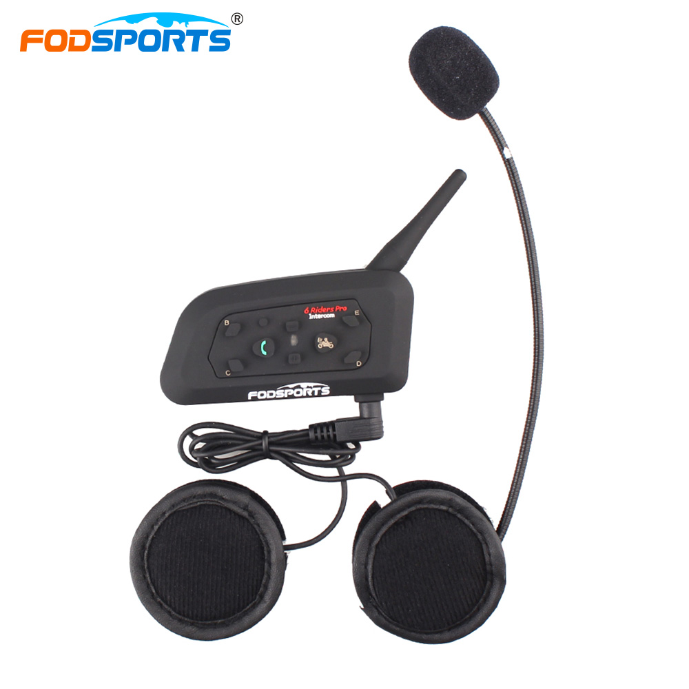 2018 New Fodsports Metal clip+V6 Pro 1200M Helmet Bluetooth Headset Multi BT Interphone Wireless Motorcycle Intercom for 6 Rider