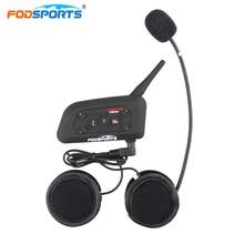 Fodsports clipe de metal + v6 pro interfone capacete bluetooth fone de ouvido multi bt interfone da motocicleta sem fio 6 piloto 1200m