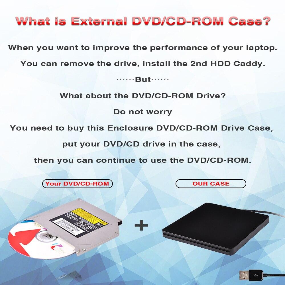 DeepFox Super Slim External Slot in DVD RW Enclosure USB 3.0 Case 9.5mm SATA Optical Drive For laptop Macbook without Driver