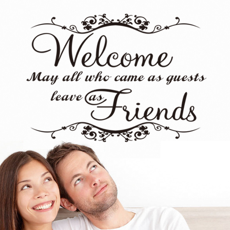 Welcome my friends wall stickers greeting words for door wall decals welcome my friends wall stickers greeting words for door wall decals home decor waterproofing vinyl wall mural in wall stickers from home garden on m4hsunfo