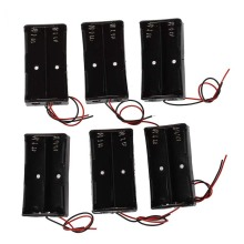6 Pcs Black Plastic 2 x3.7V 18650 Type Battery Holder Box Case