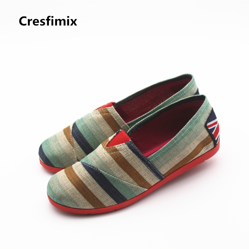 Cresfimix sapatos femininas women cute round toe striped cloth shoes lady casual soft slip on flat shoes female leisure shoes cresfimix women casual breathable soft shoes female cute spring