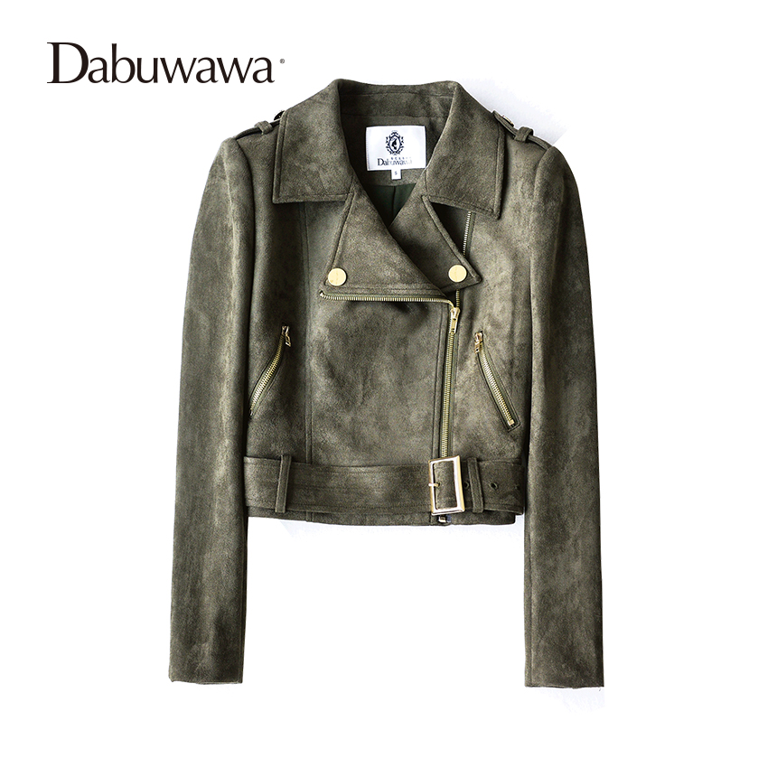 Dabuwawa Army Green Autumn Motorcycle Jacket Women Ladies Basic Street Women Short Suede Jacket ...