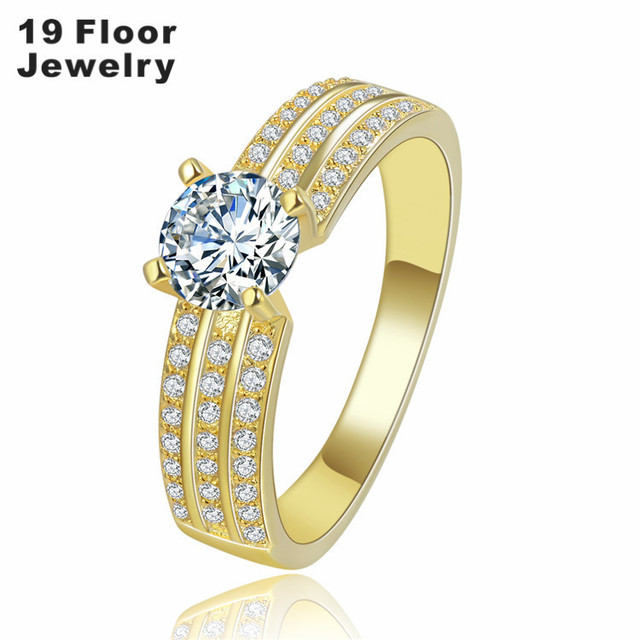 Vintage Gold Plated Jewelry wedding Ring Set for women CZ diamond vintage bague luxury engagement bijoux for lady FSR1386