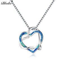 45552b315802 Blaike de amor de la plata esterlina 925 colgante de corazón collares para  mujer azul ópalo de fuego blanco infinito collar de m.
