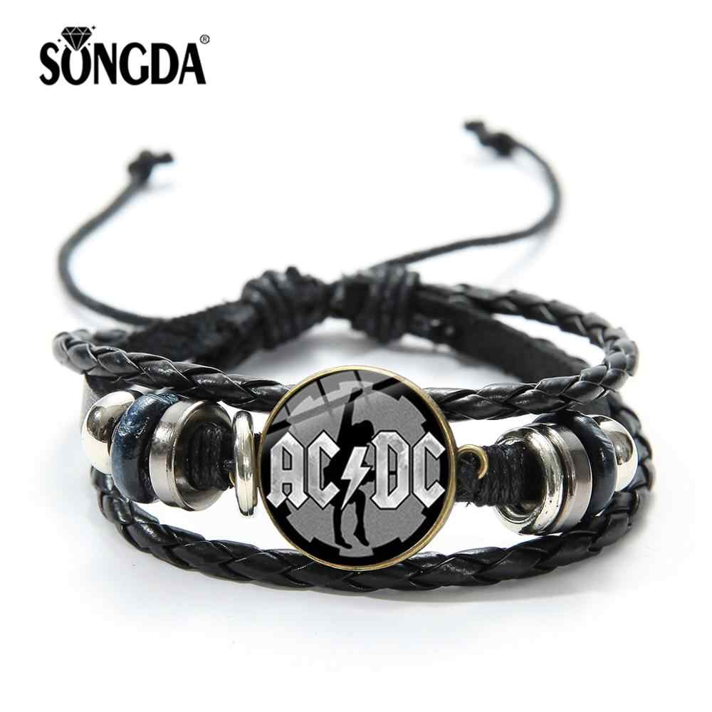 SONGDA Rock Band AC/DC Symbol Bracelets Pop Music Rock and Roll Band Culture ACDC Glass Punk Jewelry Leather Bracelet Men Women