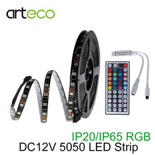 DC12V LED Strip 5050 RGB Black PCB 60LEDs/m 5M IP20 IP65 Waterproof 5050 LED Strip Light RGB 5050 Flexible Light RGB controller