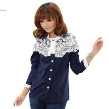 New Sweet Women Casual Small Long Sleeve Chiffon Blouse Lace Patchwork Shirt #005