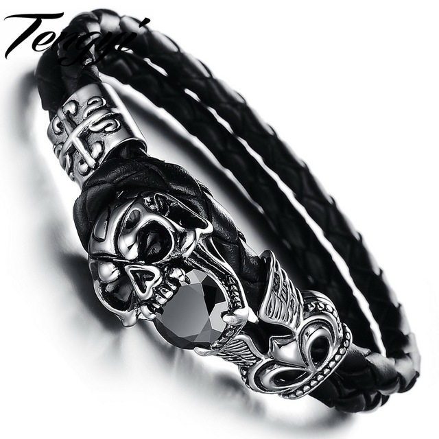 New Best  Punk & Casual& Sport Men Women Unisex Genuine  2 Layer Leather Skeleton Bracelet with special clap 846
