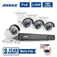 ANNKE Full HD 1080P POE CCTV Camera System 4CH NVR 2MP Outdoor IP Camera Weatherproof IR