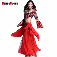 2014 New Plus Size Belly Dancing Costumes 2piece Top Dress Belly Dance Costumes For Women Red