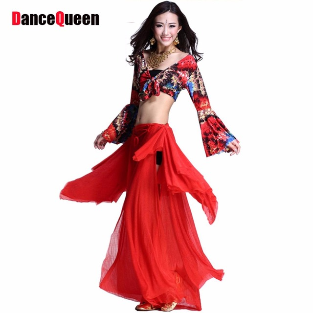 2018 new plus size belly dancing costumes 2piece(top+dress) belly